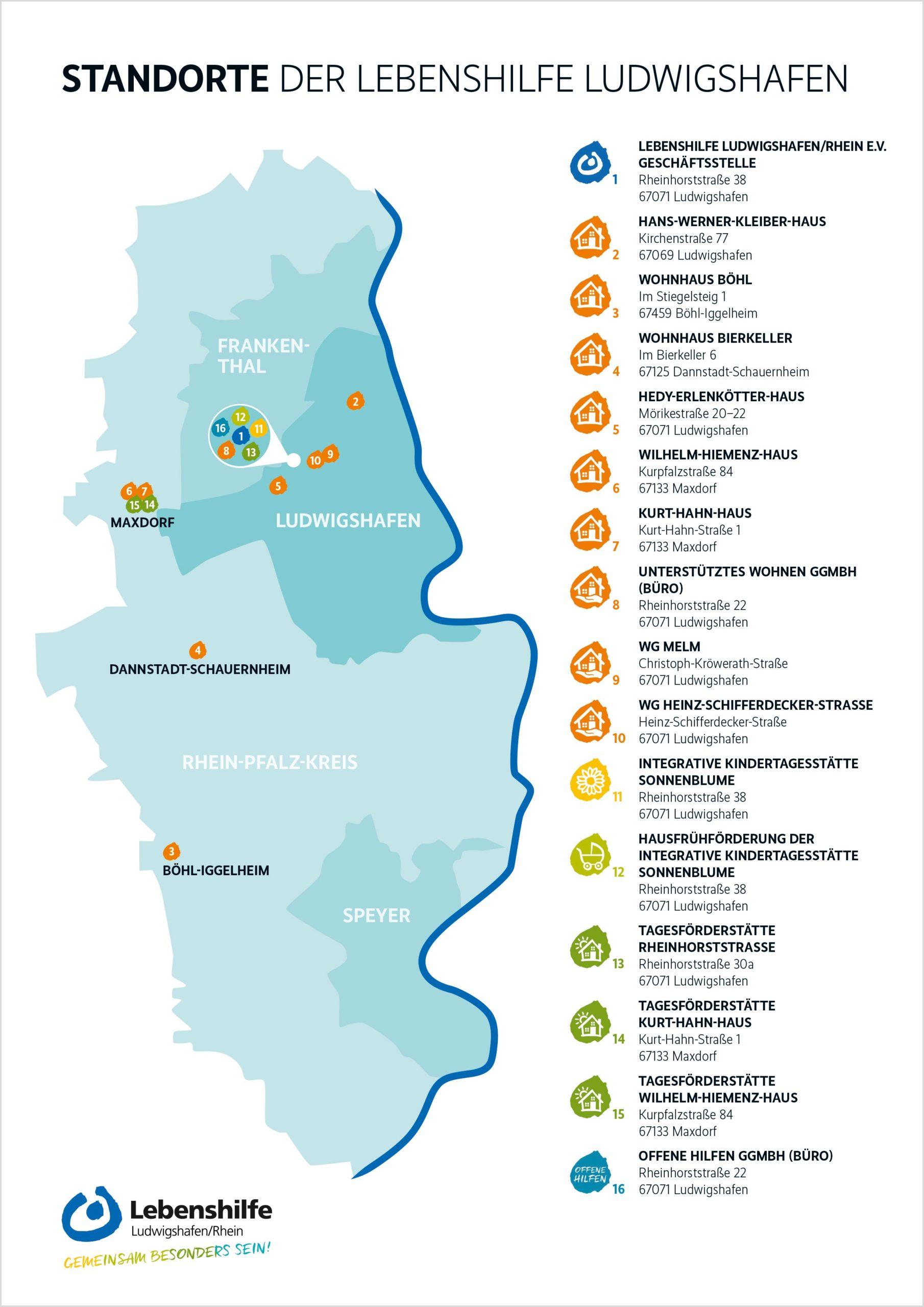 Standorte Lebenshilfe LU Karte
